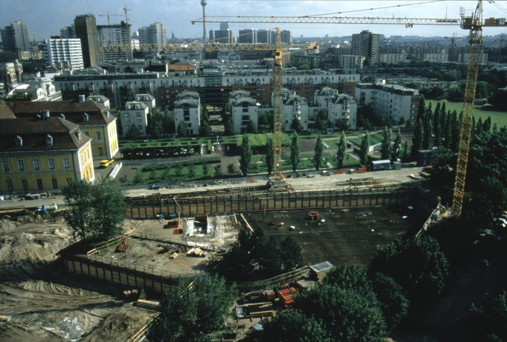 View of the Jewish Museum site prior to its construction, with Alexanderplatz and the TV Tower in the background. (Photo courtesy Studio Libeskind)