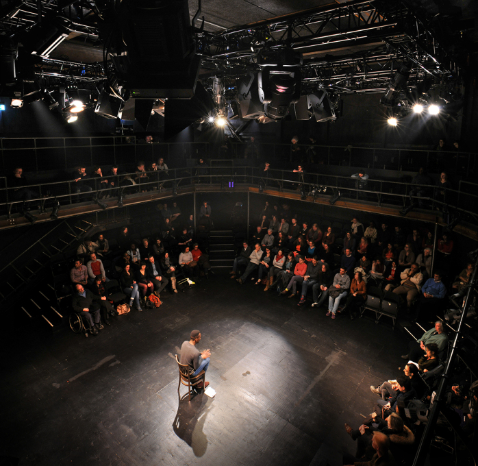 With an octagonal seating layout, the intimate theatre space can hold up to 250 people. (Photo © Philip Vile)