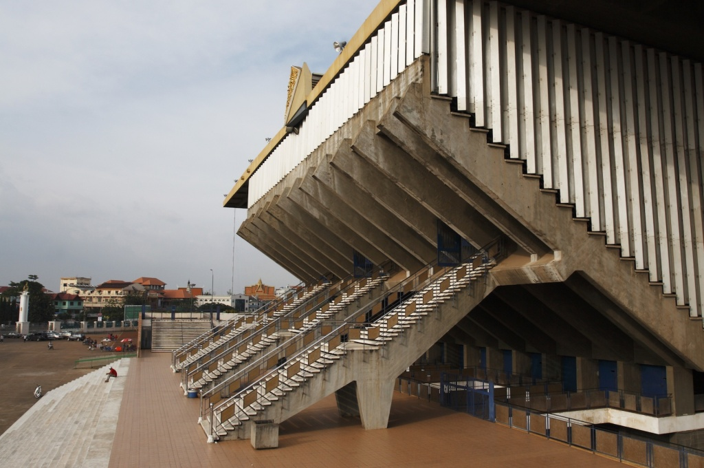 Completed in 1964, Phnom Penh's National Stadium is Vann Molyvann's masterpiece. (Photo: Luke Duggleby)