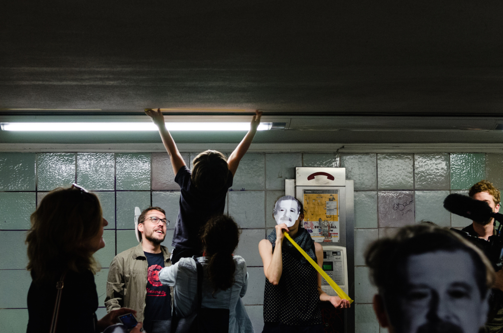 ...the transformative effects of their proposal to reclaim the space at the roundabout's centre, demarcating the space on the ceiling of the subway below ground… (Photo © Viviana Abelson)