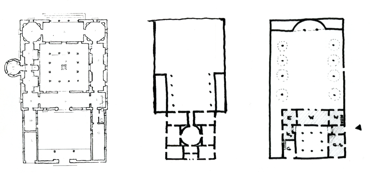 Various versions of Heinz Bienefeld's designs for Haus Nagel progressed from a double atrium house (left), a Palladio-like Villa Rotonda (middle) before finally becoming an atrium house with a walled garden.