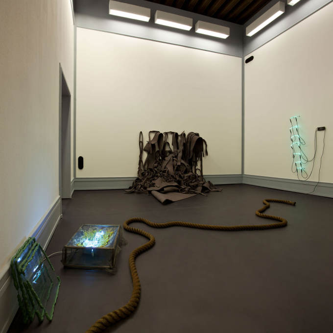 "Installation shot, including Bruce Nauman's well-known piece ""Neon Templates of the Left Half of My Body Taken at Ten Inch Intervals"" from 1966."