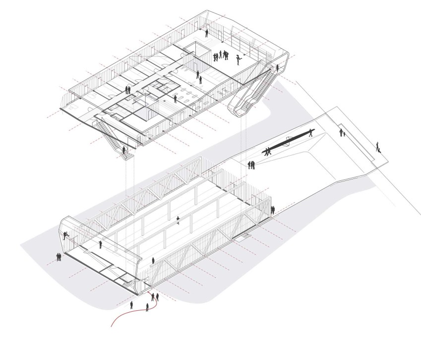 Exploded isometric showing the two floors. (Image: Oliver Mang architekten)