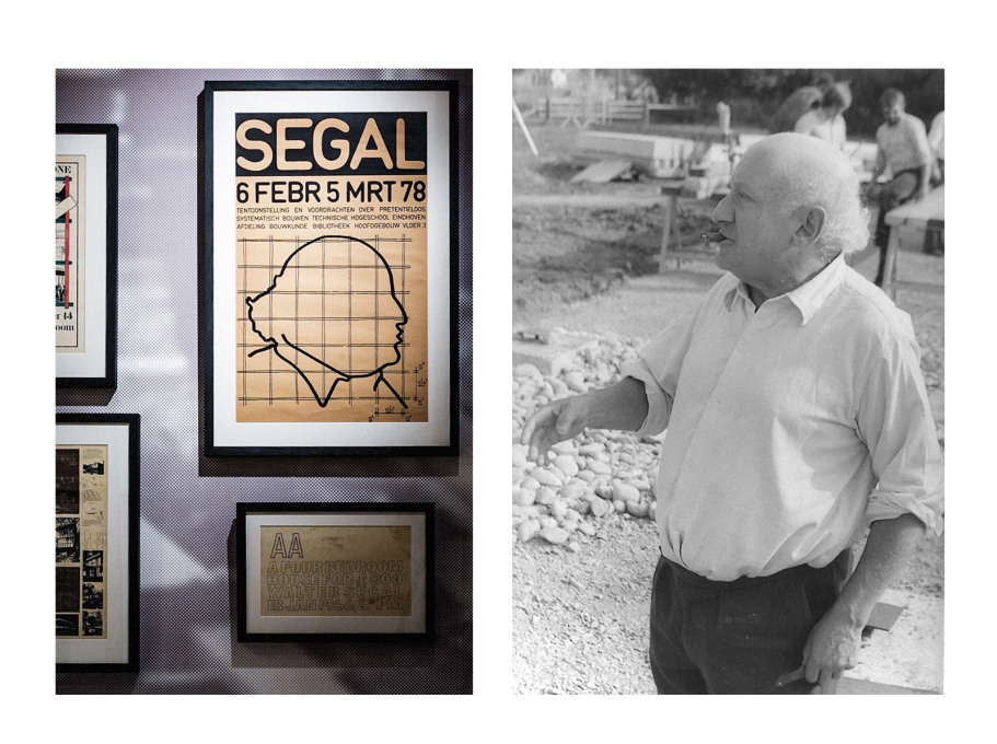 Face off: poster in AA exhibition and Walter Segal on site. (Photo left: Taran Wilkhu, courtesy AA; right, courtesy John Segal)