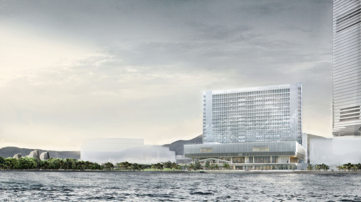 M+ visualisation seen across the harbour. (Image: Herzog & de Meuron)