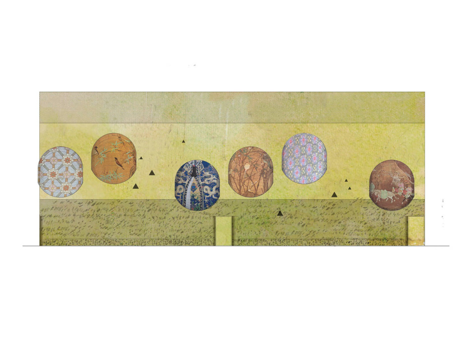 The textile skins of the cocoons will be painted with motifs referring to the three buildings' symbolic names: dragon, peacock or nightingale. (Elevation view of the core's wall)