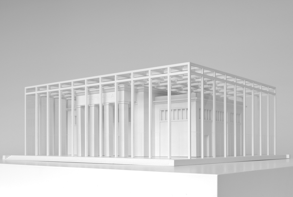 ...while Max Dudler puts the pavilion in a cage of columns. (Photo: Andrew Alberts)