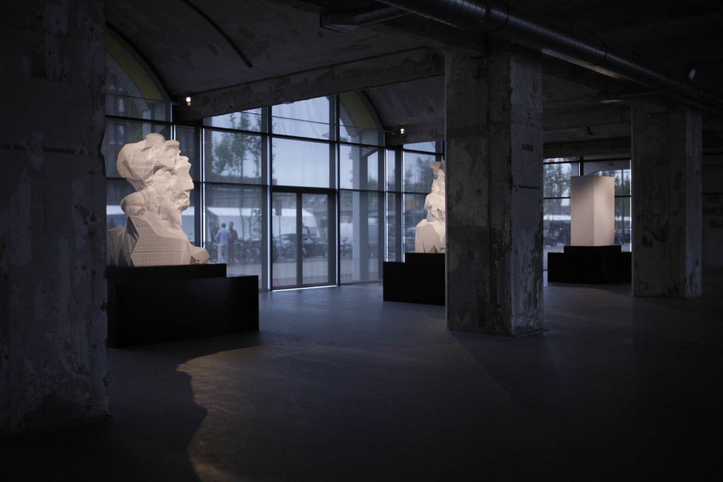 "Other works have seen a fusion of digital and physical methods. Exhibition view of ""Captives"", at MU Gallery, Eindhoven, 2013. (Image courtesy Quayola)"