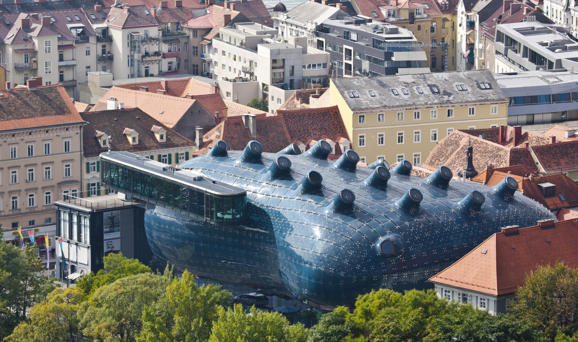 Culture:City - Kunsthaus, Graz (2001-03) by Peter Cook and Colin Fournier. Friendly giant or monstrous insertion? (Photo: Universalmuseum Joanneum / Christian Plach)