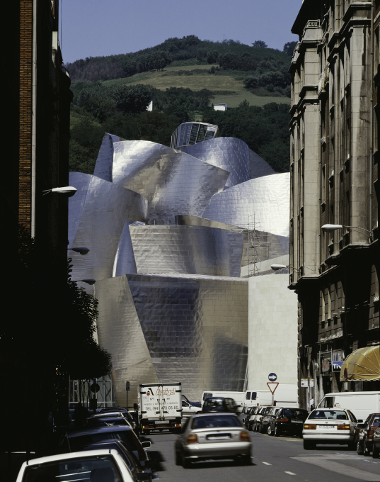 Culture:City - Guggenheim Museum, Bilbao (1993-97) by Frank Gehry. Bling architecture at its best? How real and long-lasting has been its so-called 'effect'? (Photo: David Heald, © The Solomon R. Guggenheim Foundation, New York)&a