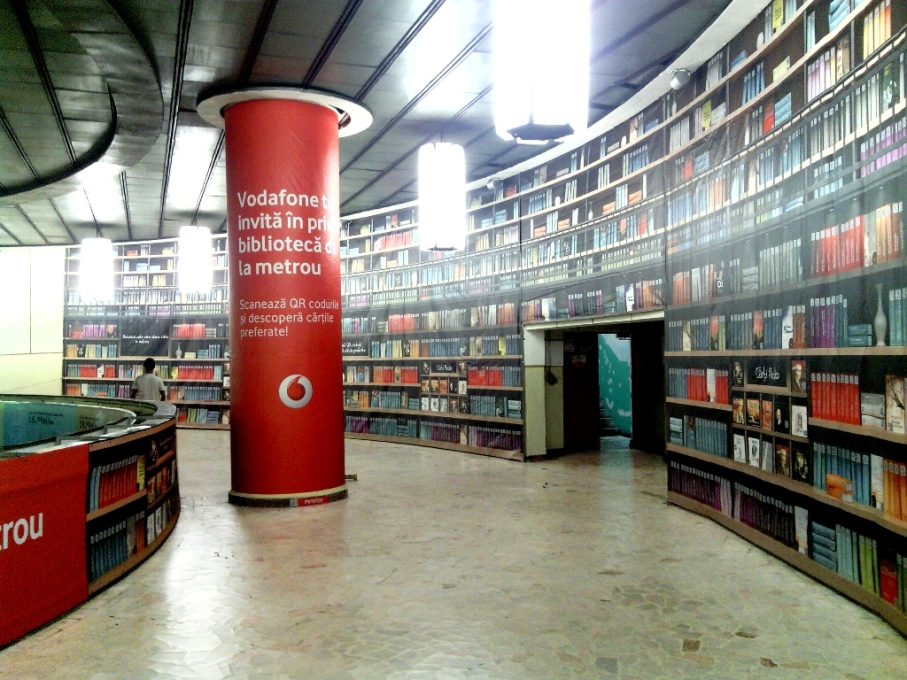 This library in Bucharest is actually a train station, outfitted by a publisher and mobile phone company.
