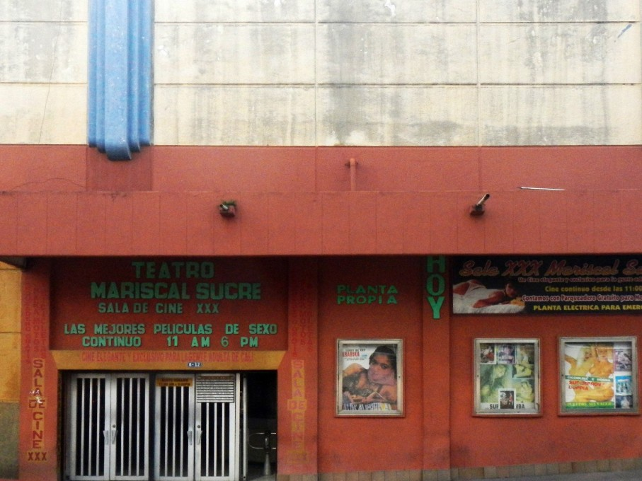 The Cine Mariscal Sucre, a porn theater.