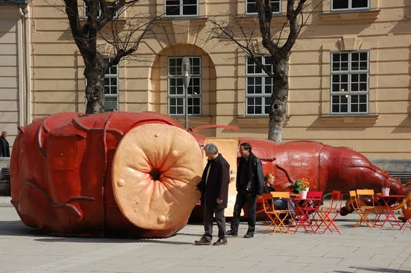 A classic example of van Lieshout's fecal sensibility: a portable, fuctional bar in the shape of a human rectum, developed for the Yokohama Triennale in 2005. (Photo courtesy Clubier)