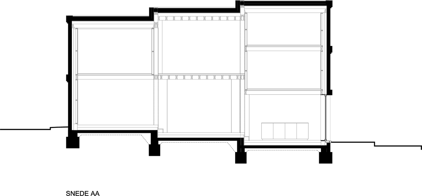 Section showing the gradual step down of the house, enabling three storeys at one end. (Image: BLAF Architects)