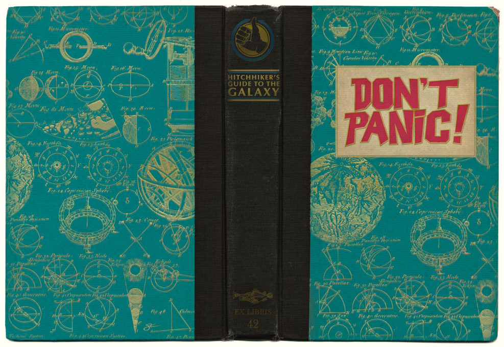 The book jacket of Douglas Adams' 1978 Hitchhiker's Guide to the Galaxy gave preemptive instructions for today's era of media overload.