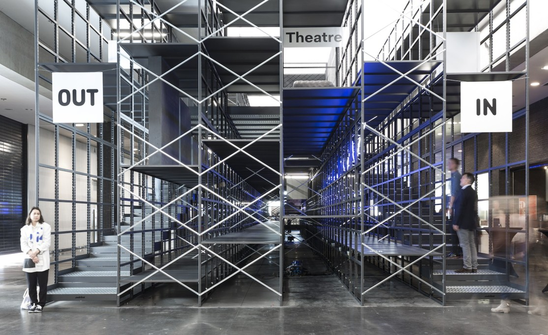 It was was mounted on a modular, scaffolding-like structure in the middle of the fair. (Photo: Delphino Sisto Legnani)