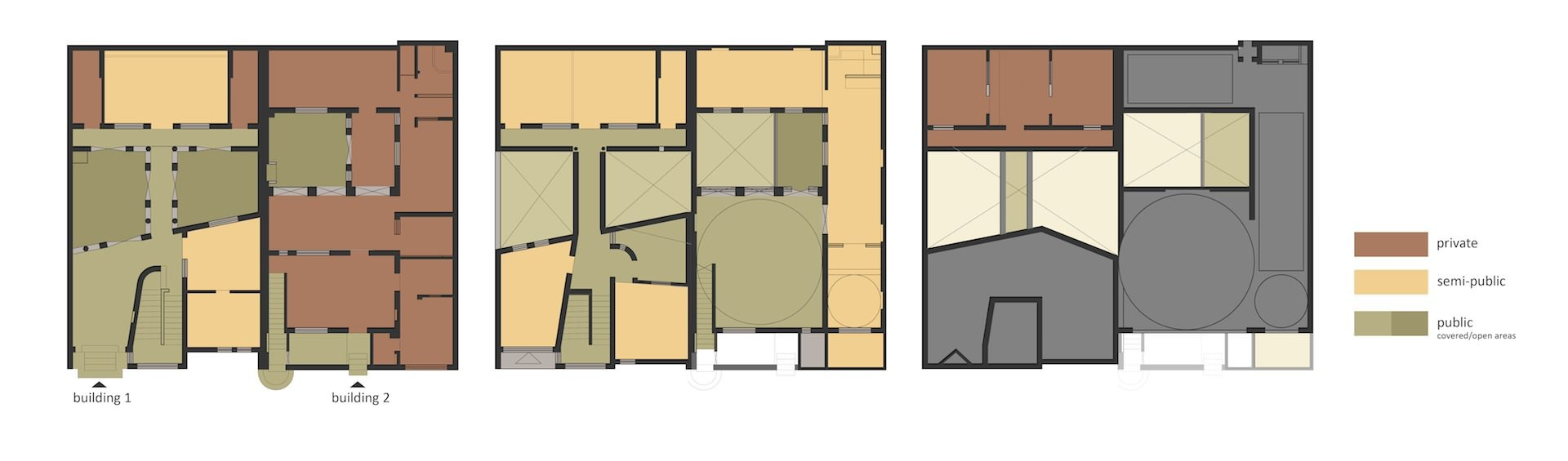 Plans of the existing buildings. (Image: Lotus Design)