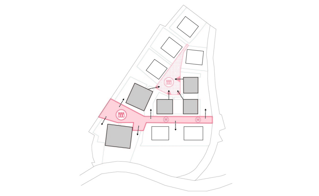 Plan showing the communal spaces of the complex.
