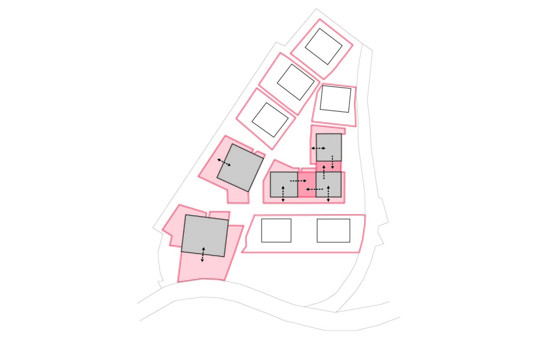 Plan demonstrating the private external spaces for each building in the complex.
