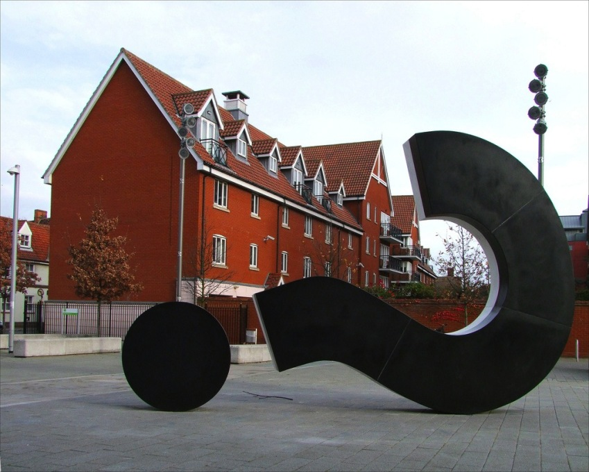 "Back to the drawing board. ""Question"" sculpture by Langlands & Bell in Ipswich. (Photo: Flickr © Simon_K)"