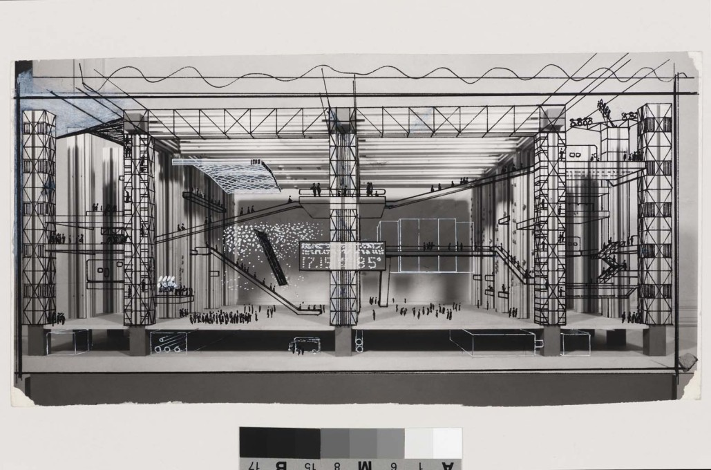 Cedric Price: The Fun Palace, interior perspective, 1964. (Image: Cedric Price fonds, CCA Montreal)