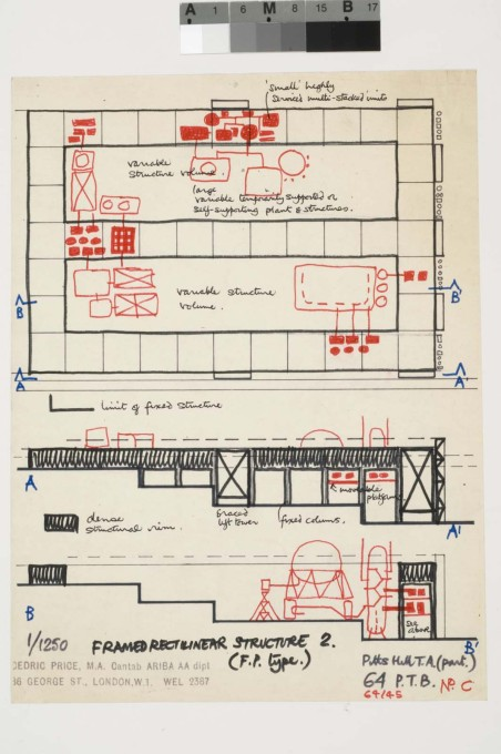 Cedric Price: Potteries Thinkbelt, diagrammatic plan and sections of Pitts Hill Transfer Area, 1966. (Image: Cedric Price fonds, CCA Montreal)