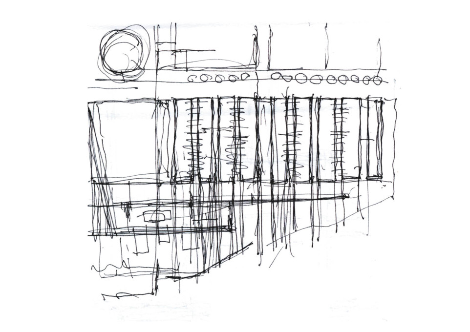Andrea Dragoni's sketched plan for the site. (All sketches: Andrea Dragoni)