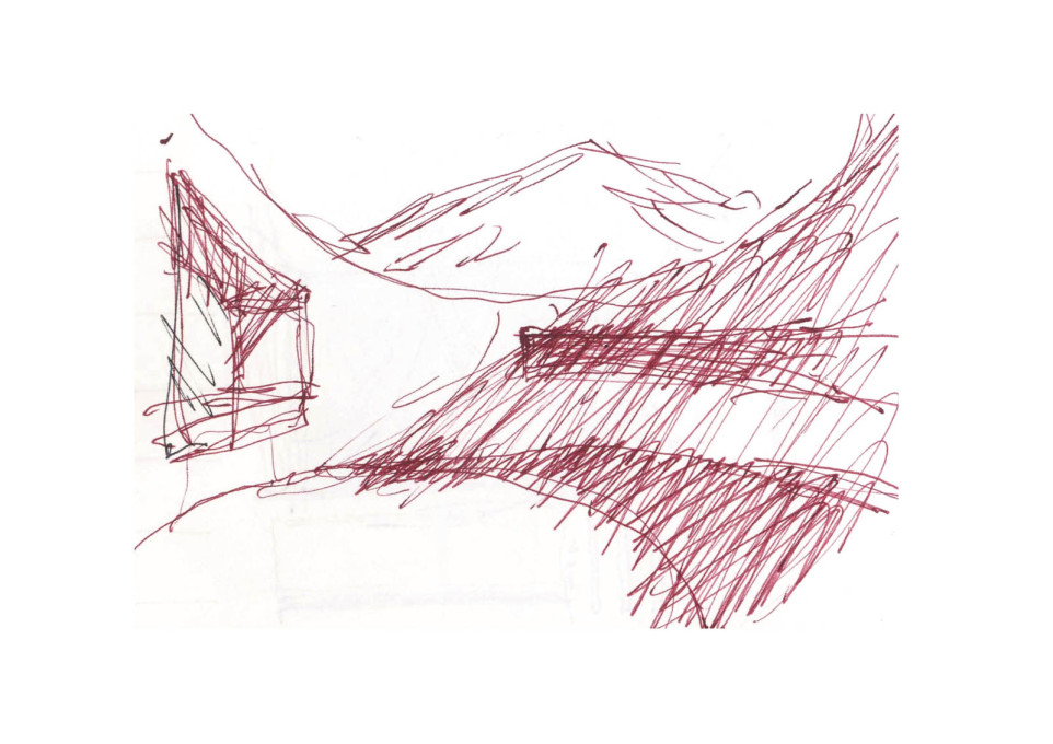 Andrea Dragoni's sketch showing the cemetery set against the landscape.