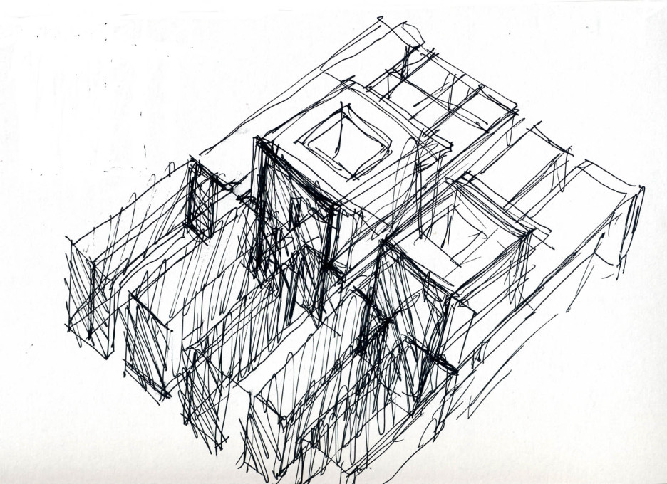 "Sketch of the ""window to the sky"" concept."