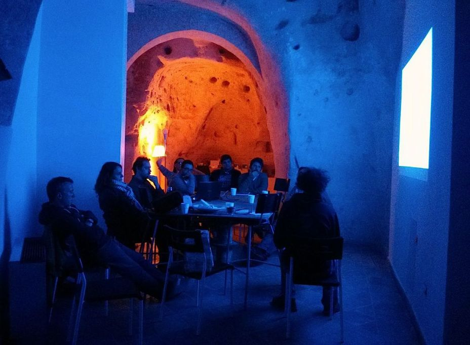 An on-site meeting between unMonastery participants and a local association in February 2014. (Photo: Ben Vickers)