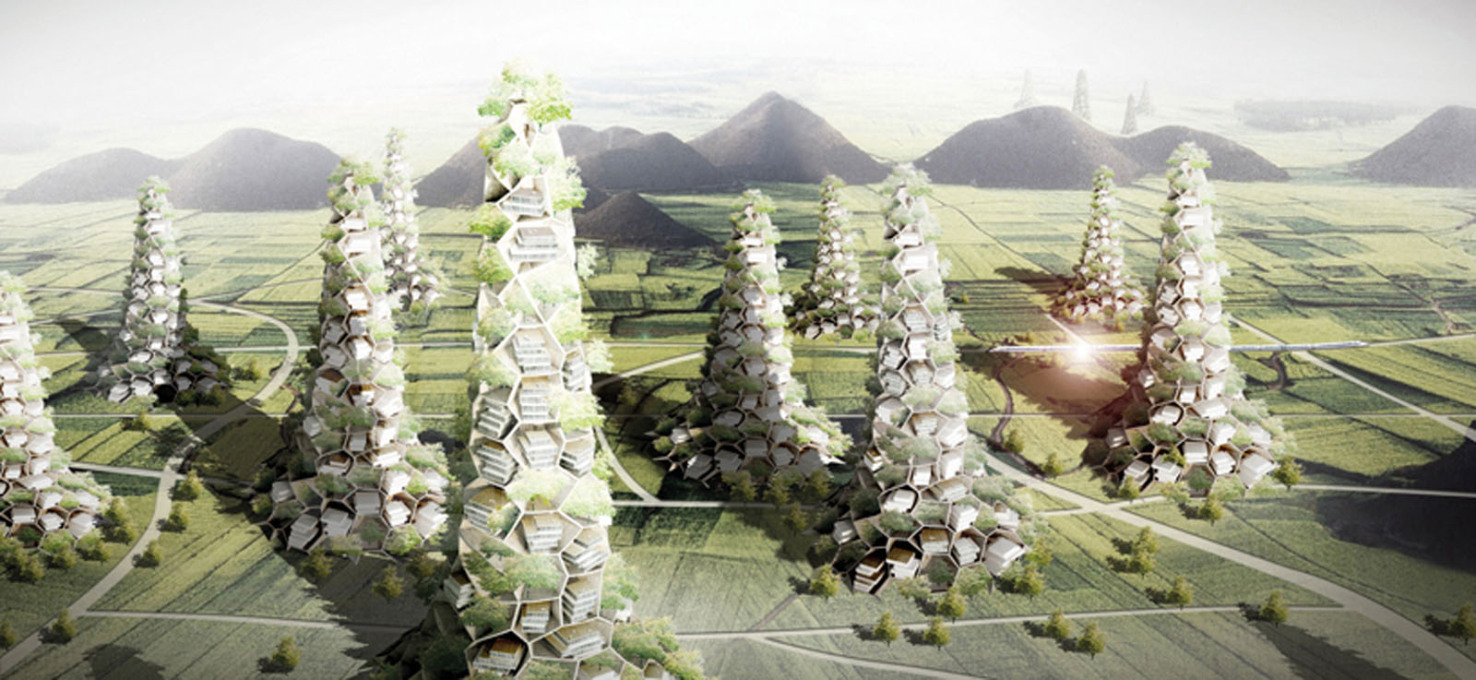 "A visualisation of Zhang Ke's proposal for ""Village Mountains""."