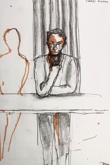 "The ""highly un-impartial"" chair of the evening's debate, Charles Holland. (Illustration by Abi Aldridge)"