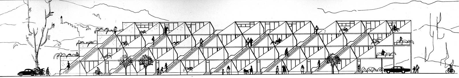 Section view highlighting the pre-fabricated, trapezoid shapes that defined the original construction. (Plan courtesy Arieh Sharon office)