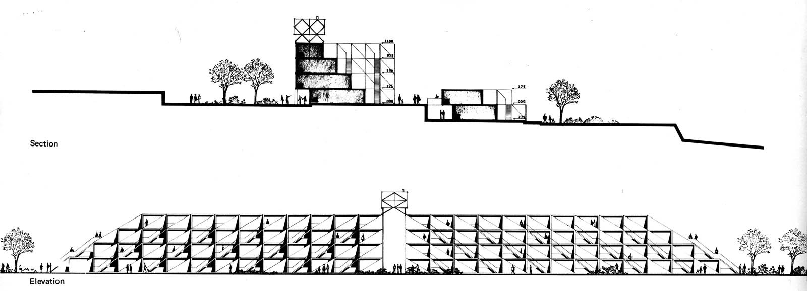 Section and elevation views of the site. (Plan courtesy Arieh Sharon office)