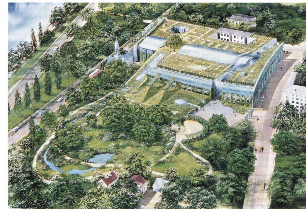 Axometric view demonstrating the seamless intergration between the building and its gardens. (Drawing courtesy Partnerzy Marek Budzy?ski)