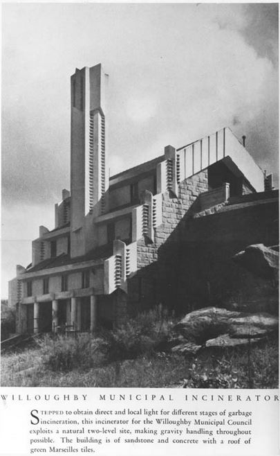 Publicity photograph of the Incinerator when newly completed. (Photographer unknown, courtesy Walter Burley Griffin Society Inc. Collection/Max Dupain Collection)
