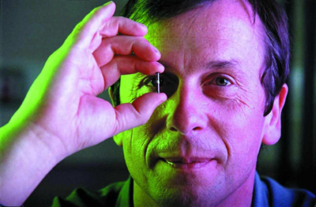 The British scientist Kevin Warwick successfully linked his nervous system to the internet through the surgical implantation of an array of electrodes. (Photo courtesy University of Reading)