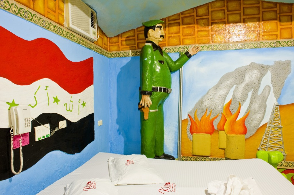 Saddam Hussein and burning oil fields in the bedroom. No prizes for guessing which country is the theme here.
