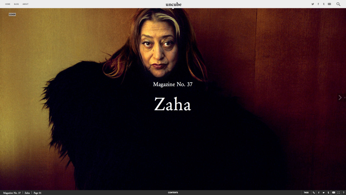 uncube issue no. 37, published in October 2015, on the occasion of Dame Zaha Hadid's 65th birthday: uncu.be/zMrYq3