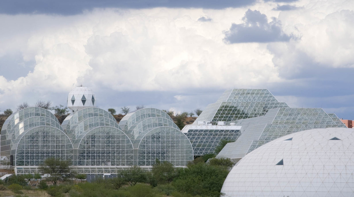 The airtight glazing of Biosphere 2, inspired by Buckminster Fuller... (Courtesy CDO Venture LLP/University of Arizona Biosphere 2)