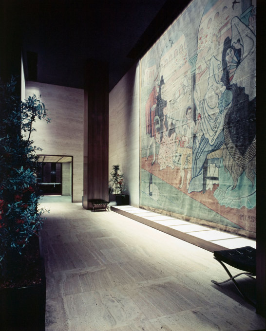 Pablo Picasso, Le Tricorne stage curtain, 1919, Four Seasons Restaurant, Philip Johnson interior. (Photo: Ezra Stoller, 1959, © Esto. © Picasso Estate/SODRAC (2013). Curtain owned by New York Landmarks Conservancy)