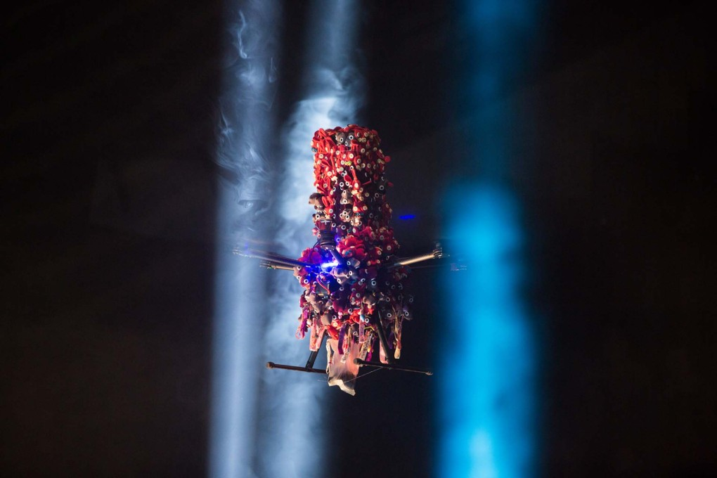 ...of costumed drones for the Barbican Theatre in London. (Photo: Sidd Khajuria)