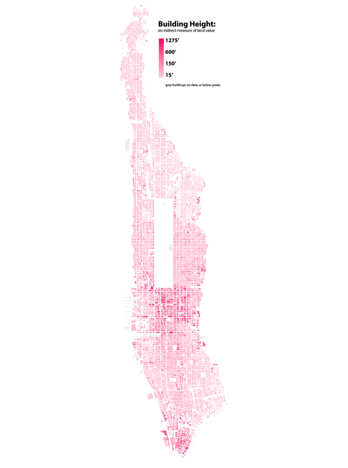 An overview of the heigh of buildings in Manhattan... (Map: Bill Rankin)