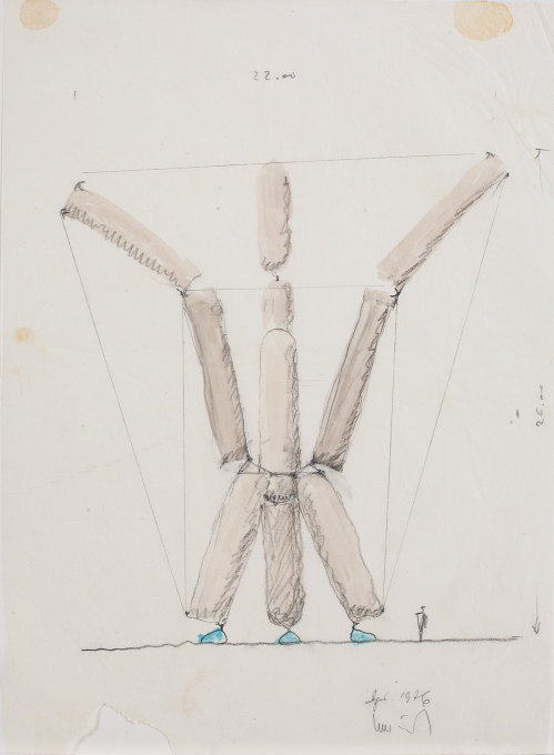Bodo Rasch: Pneumatic sculptures, 1976. Pencil, marker, tip pen and coloured pencil on paper on cardboard. (Photo: Hans Schröder)