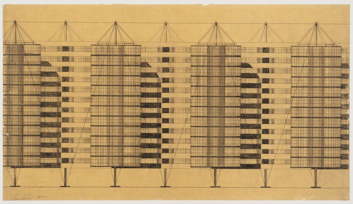 Suspended House Settlement, perspective view, 1927/28. (Attributed to Bodo Rasch, photo: Hans Schröder)