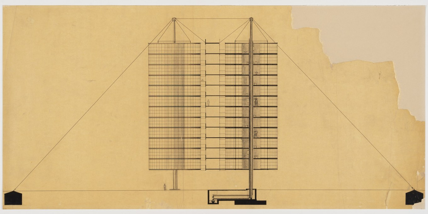 Project for Suspended Housing Units, cut-away axonometric view, 1927. Pen, ink and graphite on tracing paper. (Attributed to Bodo Rasch © Canadian Centre for Architecture, Montréal)