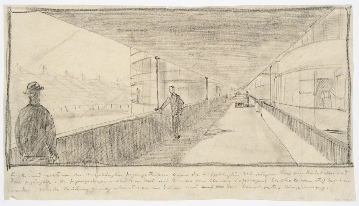 Suspended Housing Units: perspective view along a suspended walkway, 1927/28. Graphite on tracing paper. (Attributed to Bodo Rasch © Canadian Centre for Architecture, Montréal)
