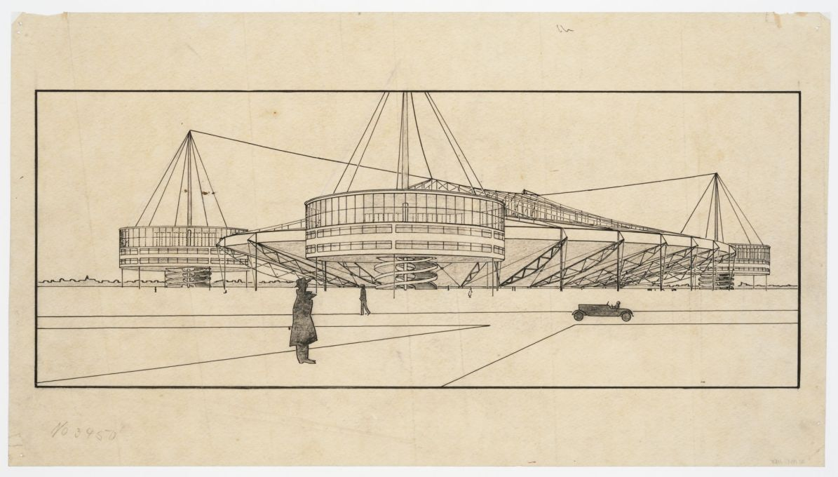 Project for a stadium: perspective, 1927/1928. Pencil, ink and graphite on tracing paper. (Attributed to Bodo Rasch © Canadian Centre for Architecture, Montréal)