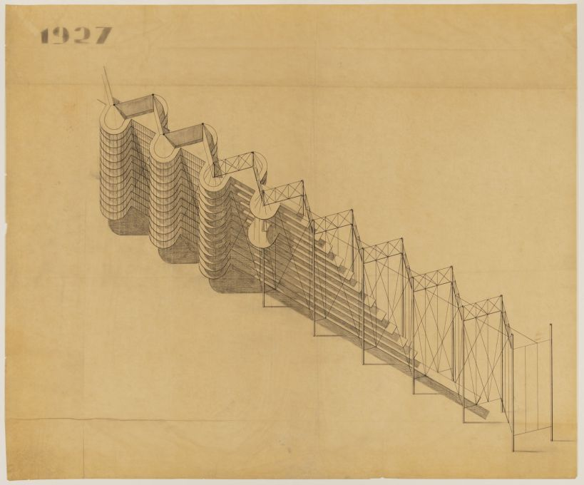 Project for Suspended Housing Units, cut-away axonometric view, 1927. Pencil, ink and graphite on tracing paper. (Attributed to Bodo Rasch © Canadian Centre for Architecture, Montréal)