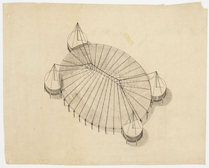 Bodo Rasch: Project for a stadium, bird's eye view, 1927/1928. Pencil, ink and graphite on tracing paper. (© Canadian Centre for Architecture, Montréal)
